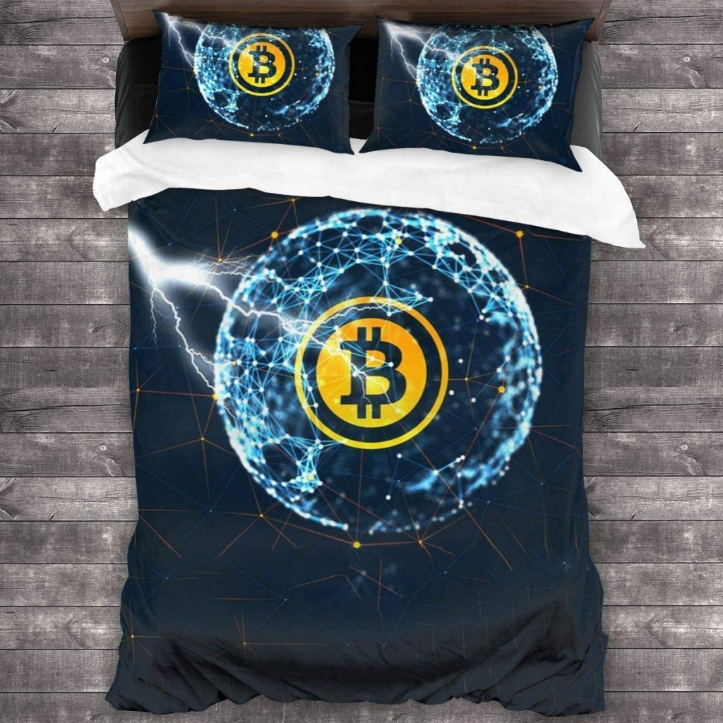 Juego de cama con logo bitcoin