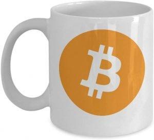Taza de café bitcoin logo