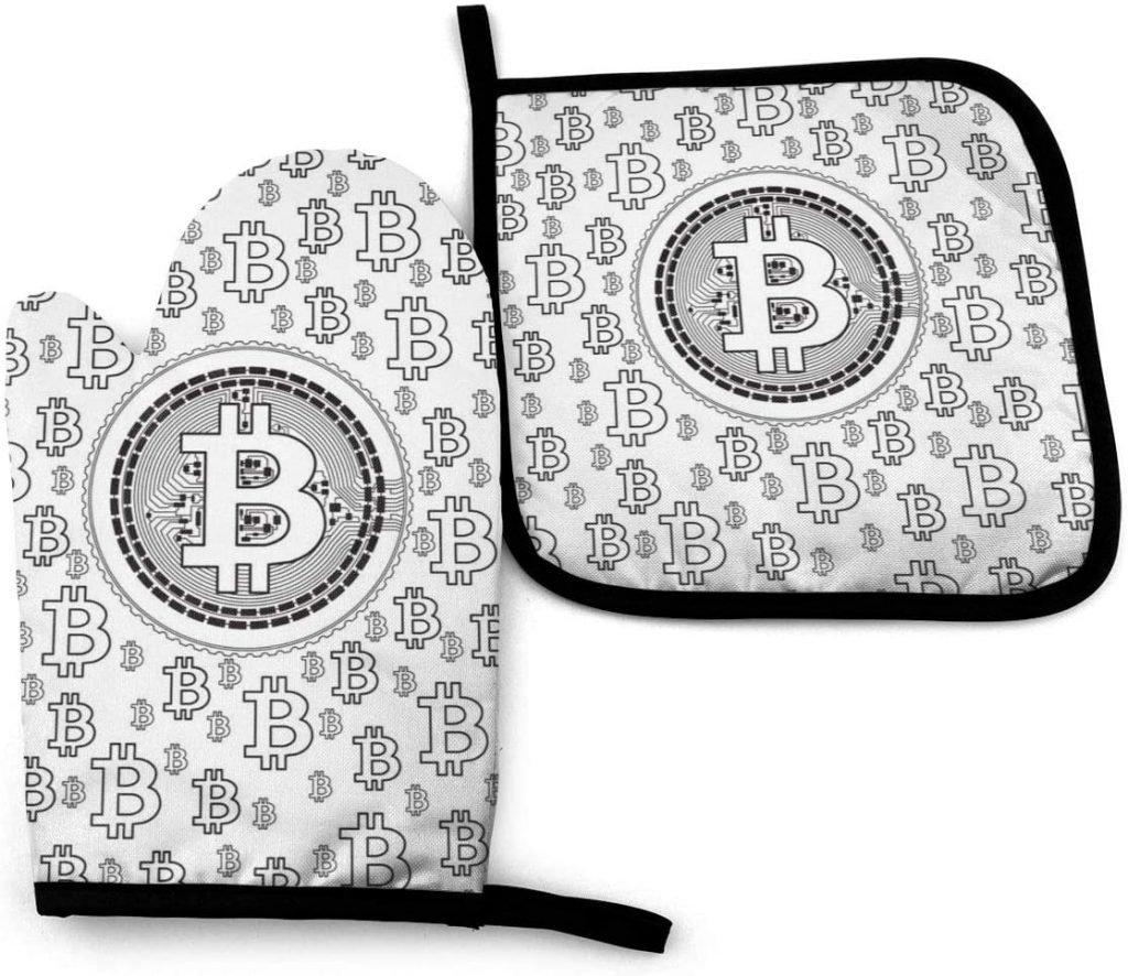 Guante de cocina bitcoin blanco