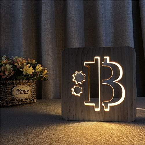 Lámpara de madera bitcoin