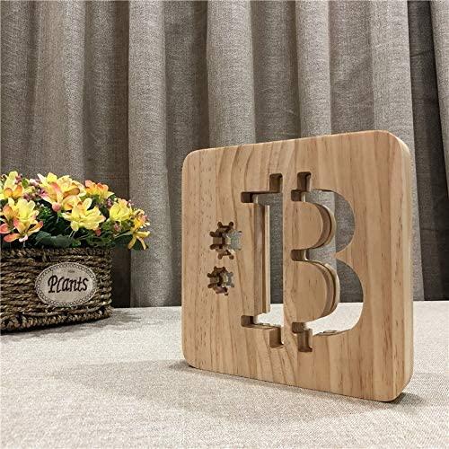 Lámpara bitcoin madera