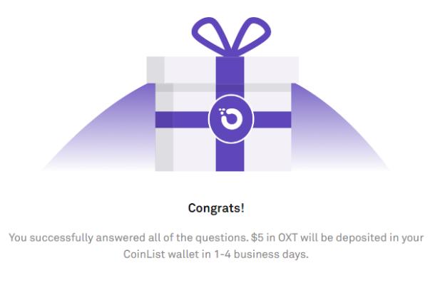 5$ gratis en OXT con Coinlist