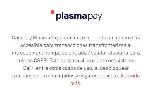 Casper y PlasmaPay